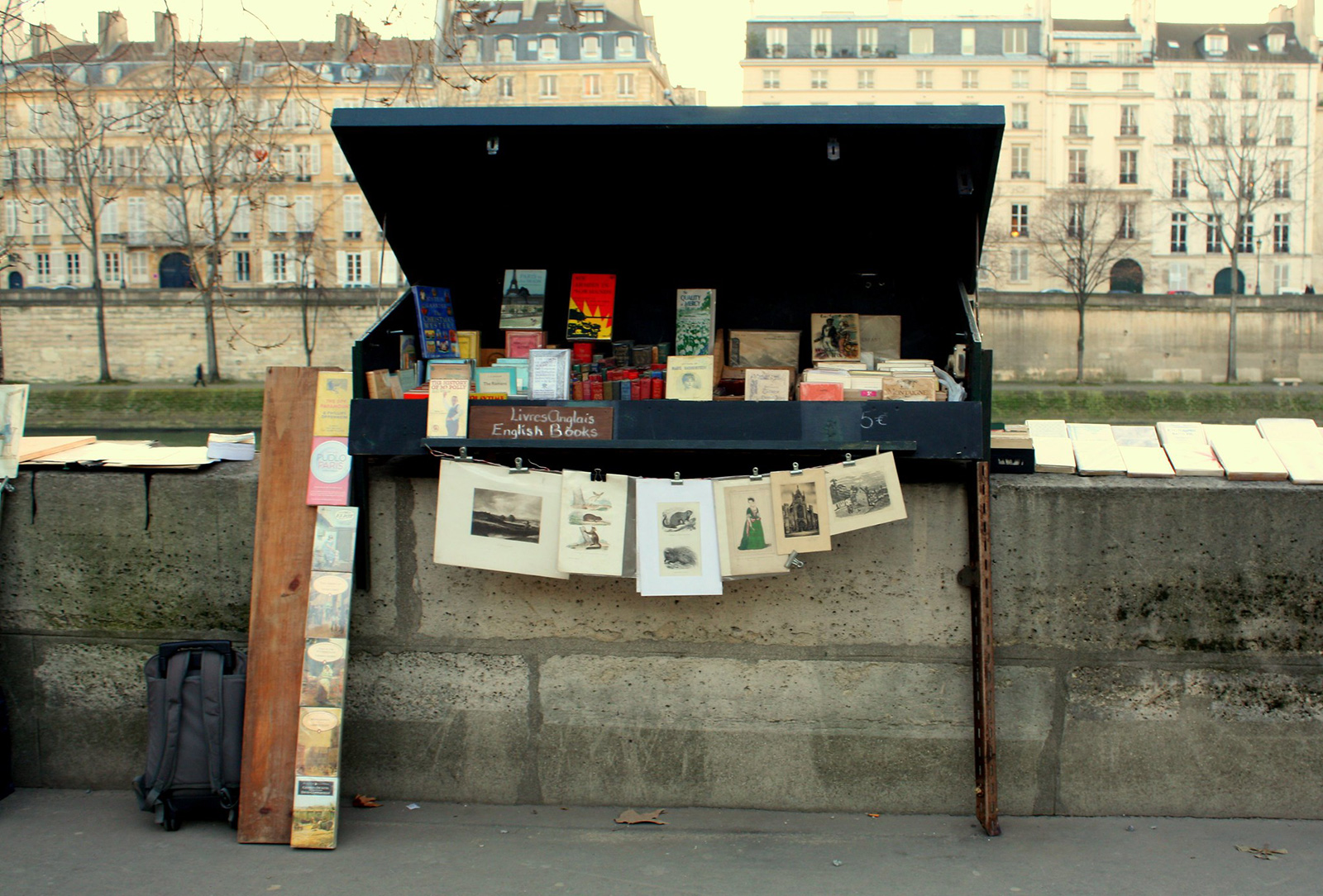 close-up of a small book stand along the Seine River in Paris