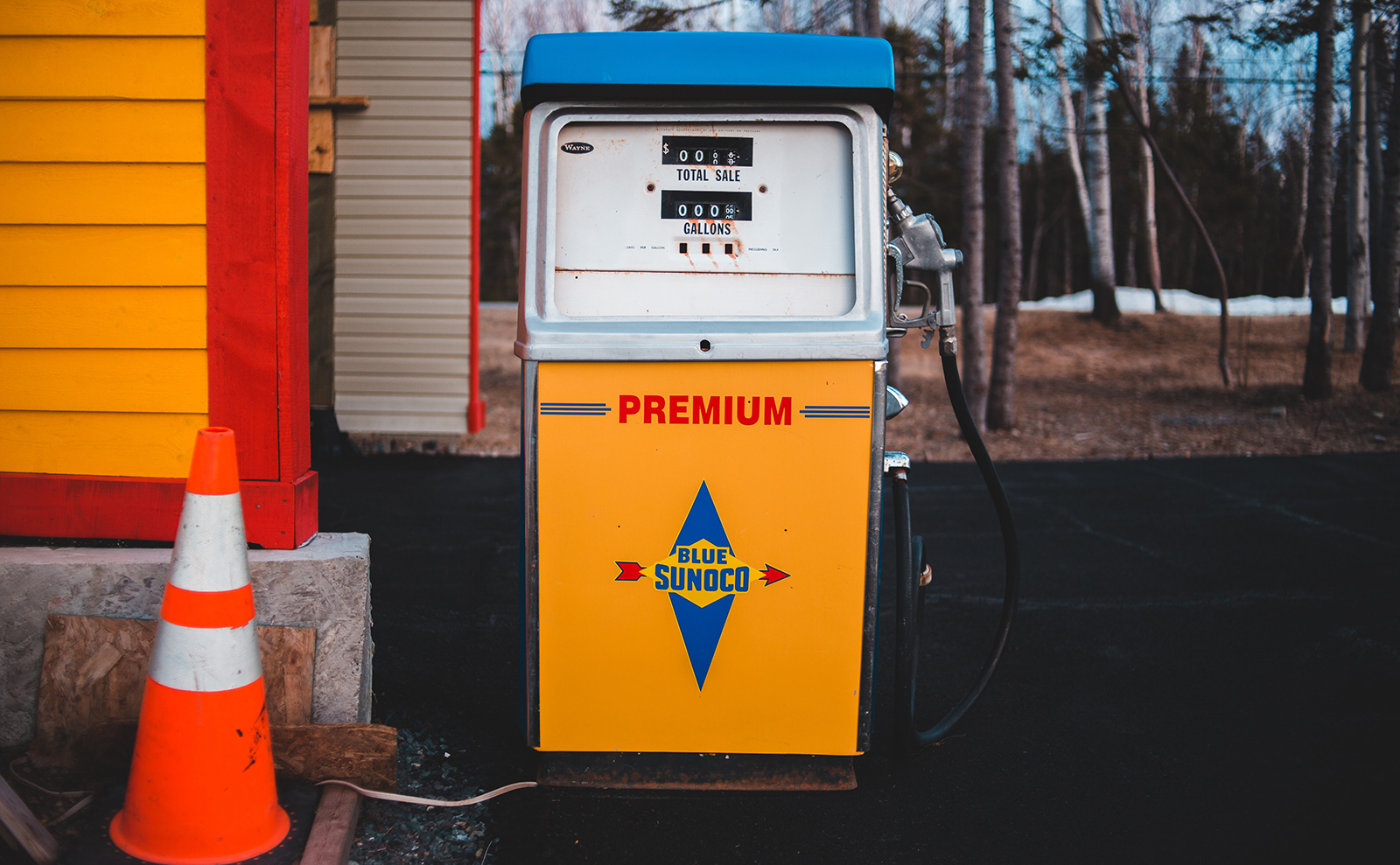 vintage gas pump at a rural gas station