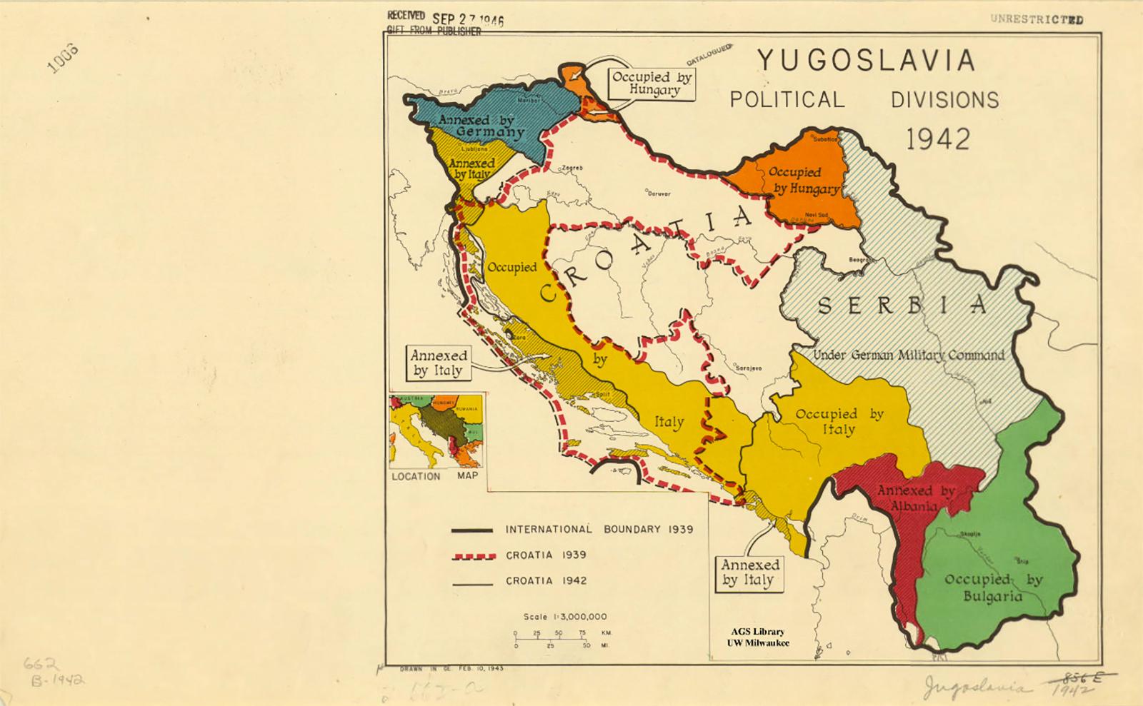 map of Yugoslavia, 1942