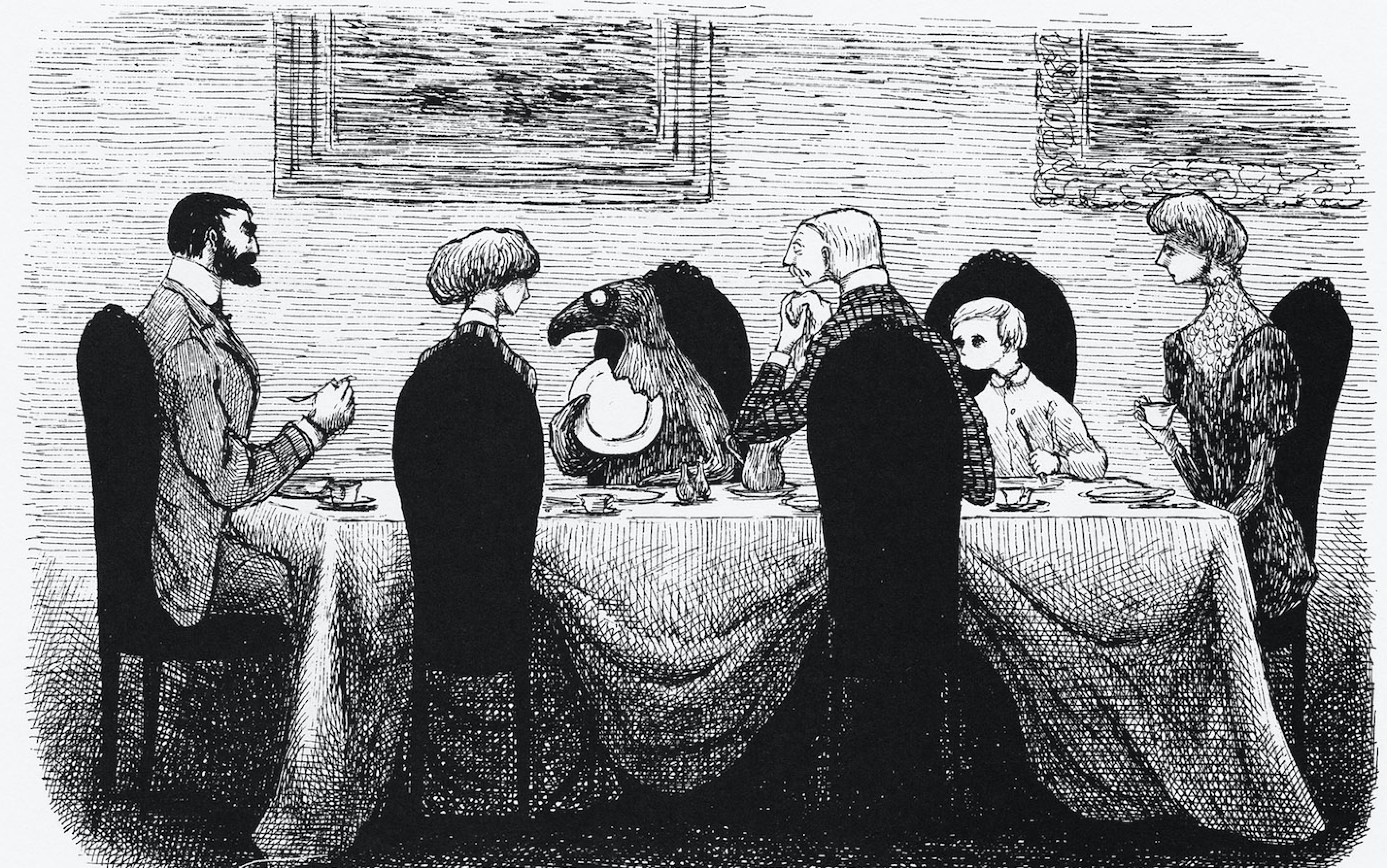black and white drawing of a mysterious creature sitting at a dinner table