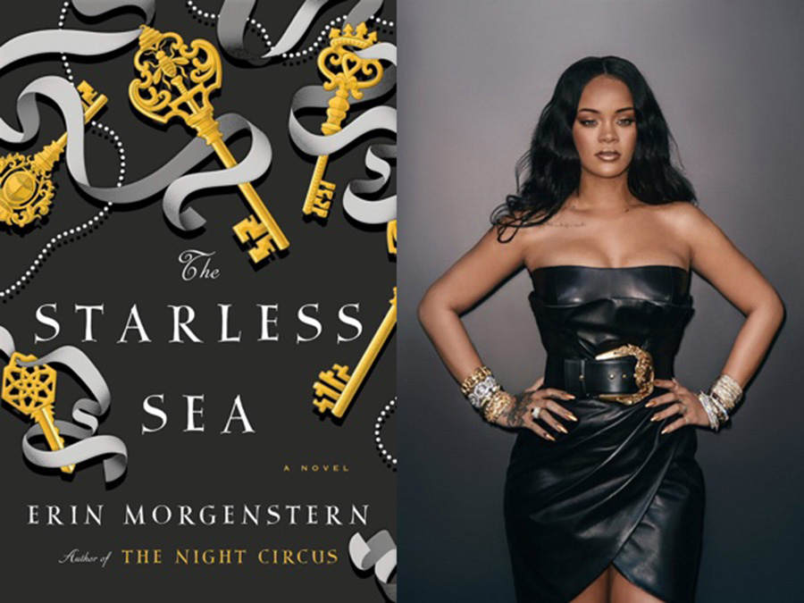 rihanna in a black leather dress with the cover of the starless sea