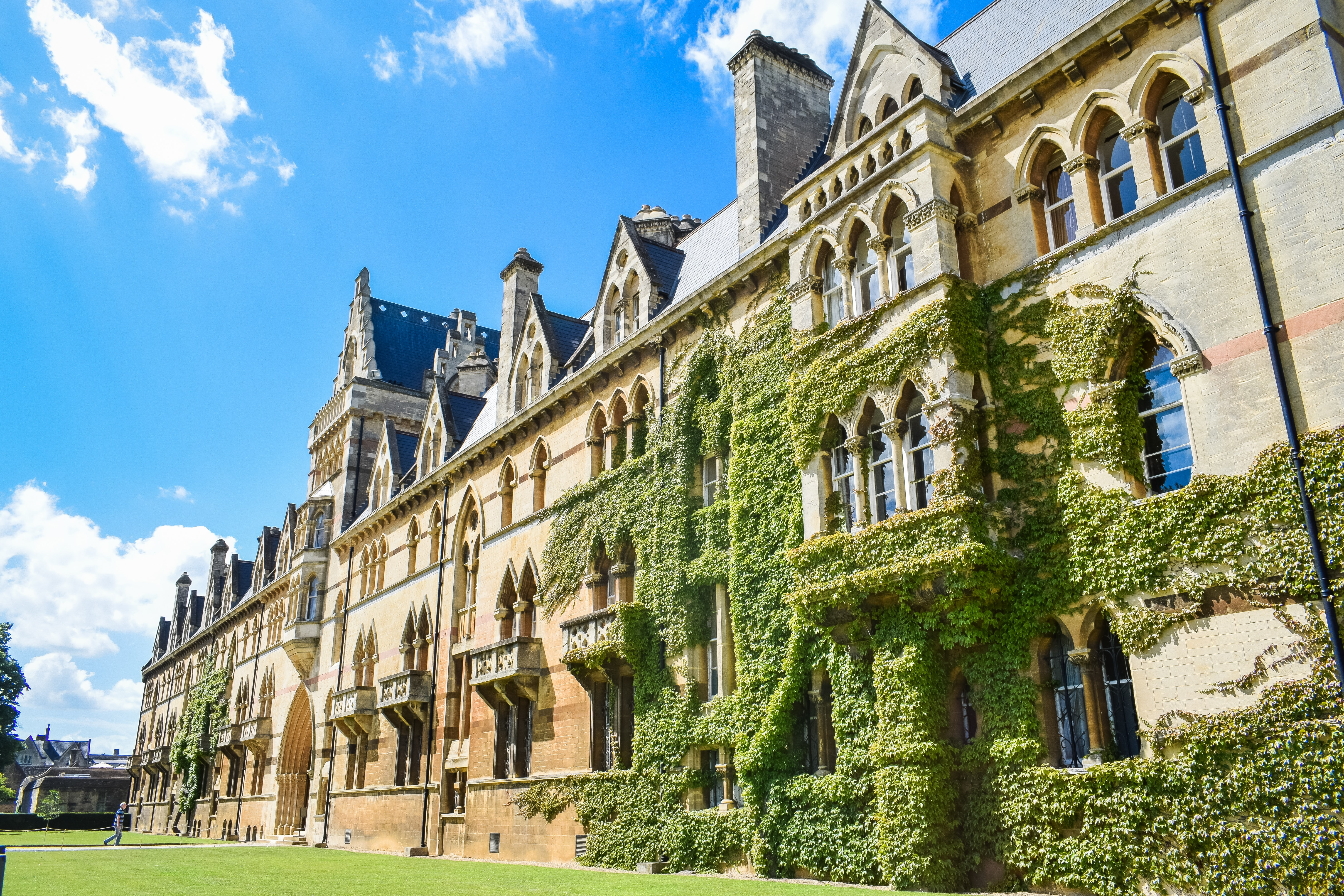 an ivy-covered wall at oxford university