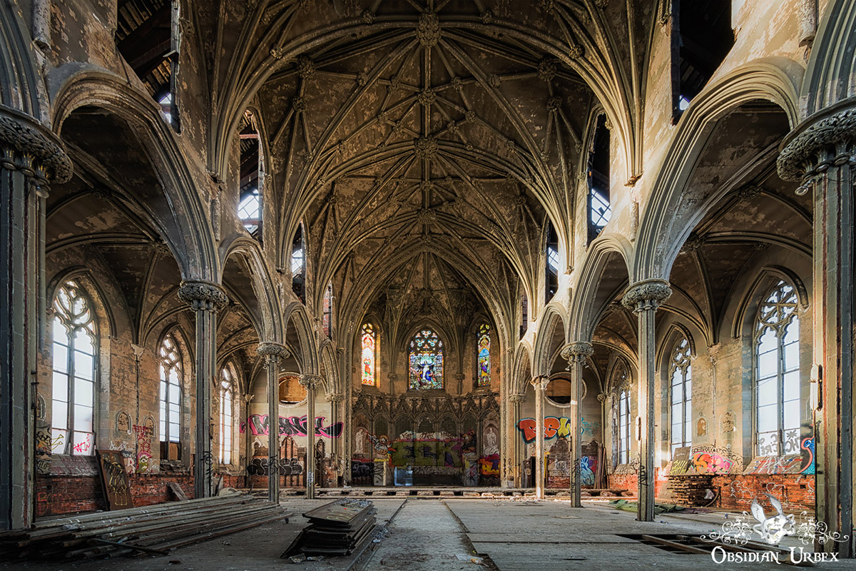 abandoned gothic church with graffiti