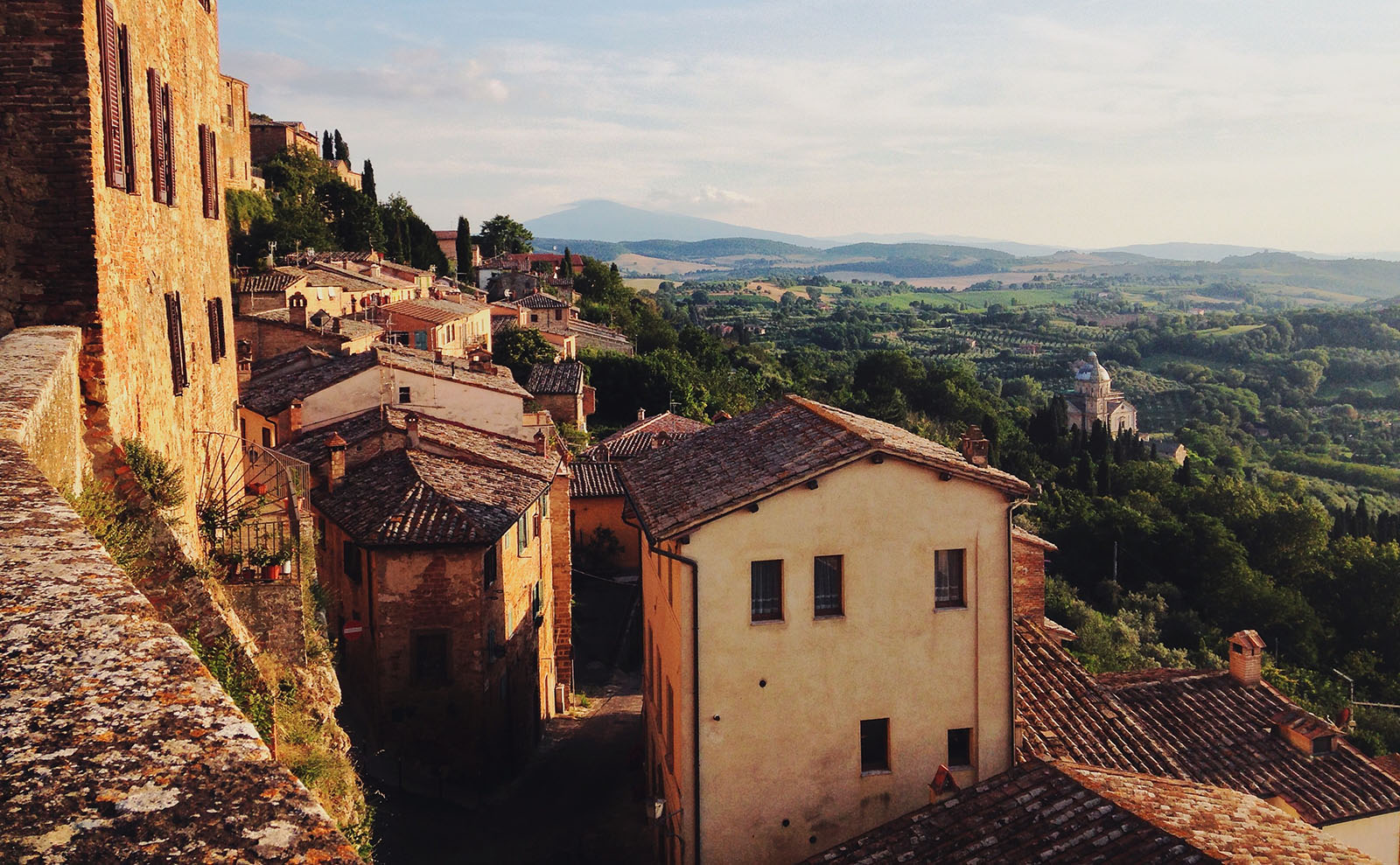 houses on the hillside in Montepulciano, Italy