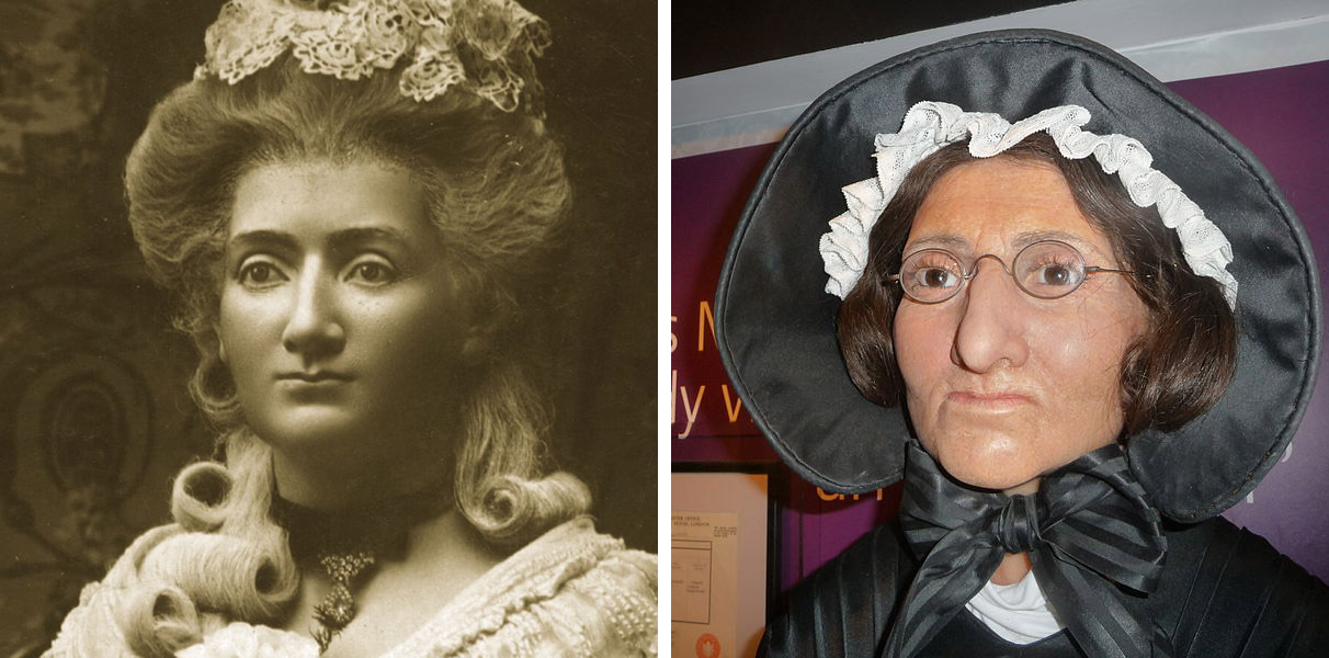 black and white images of madame tussaud in real life and wax figure