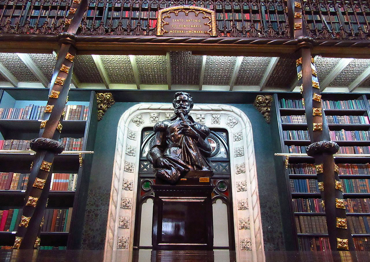 bust of luís de camões in the royal portuguese reading room