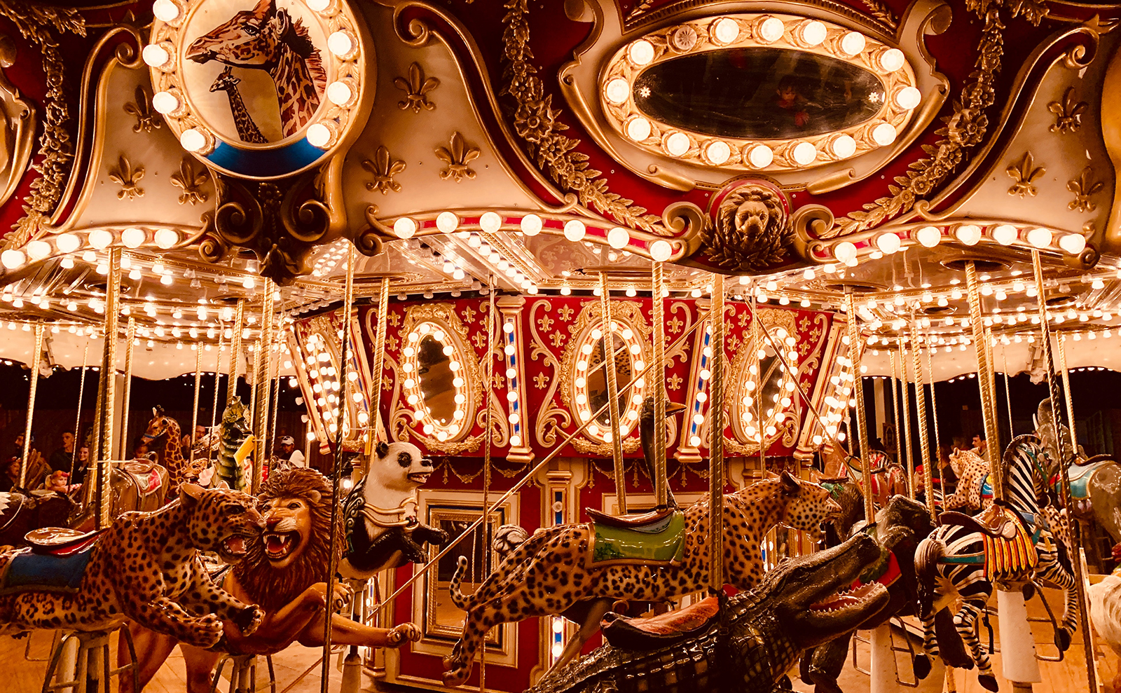 old-fashioned merry-go-round at night