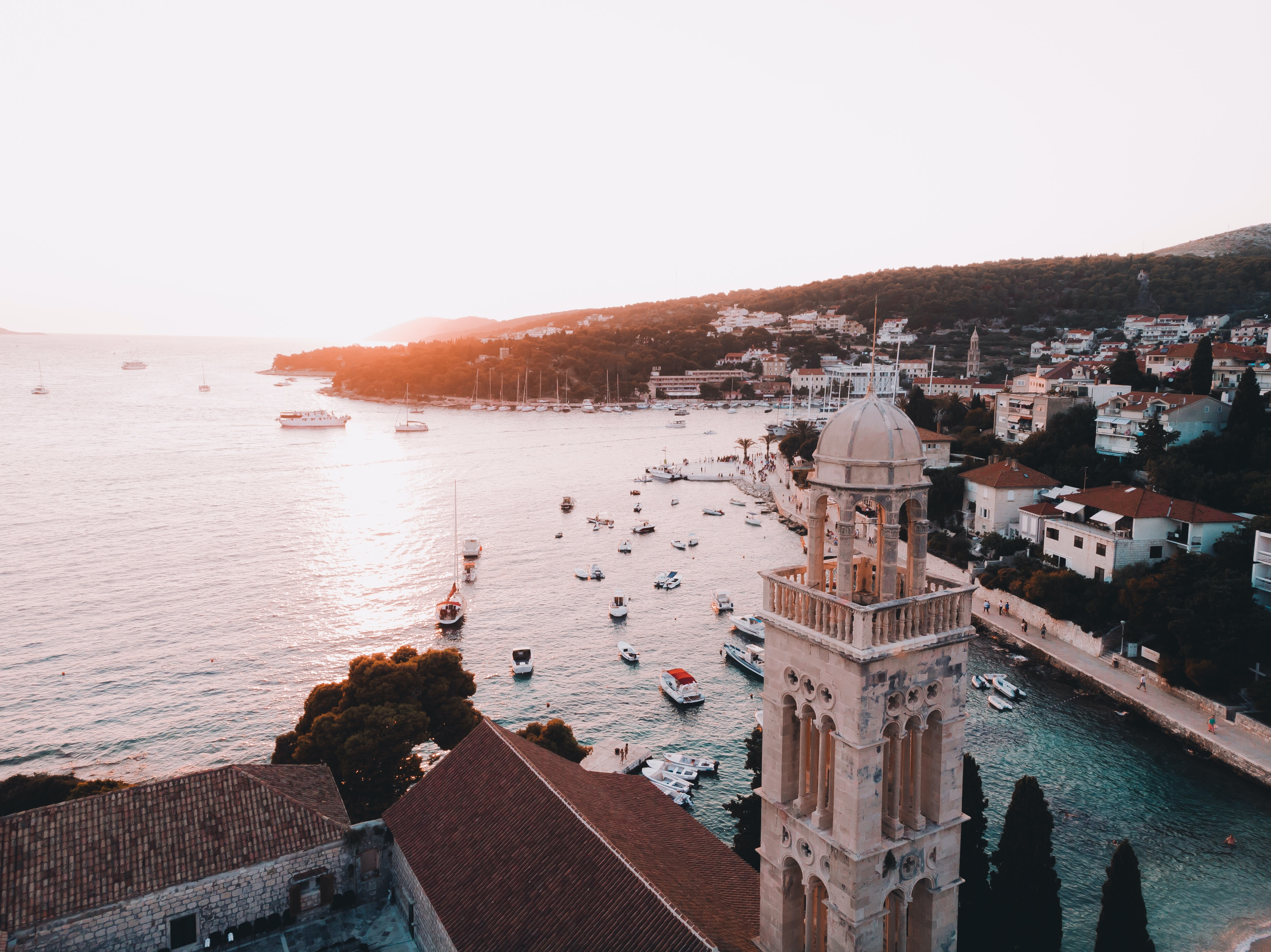 church tower in hvar, croatia