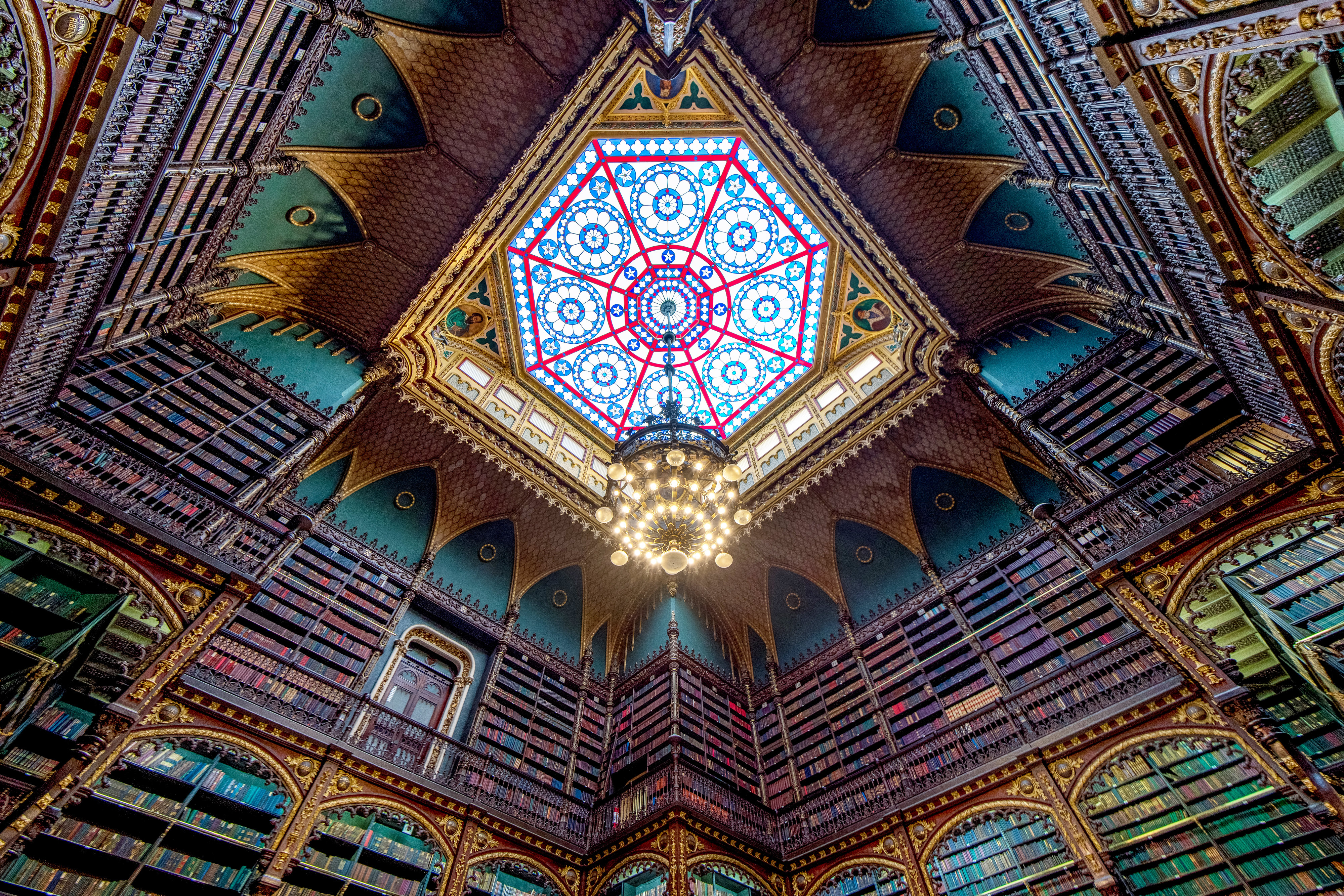 stained glass ceiling in the royal portuguese reading room