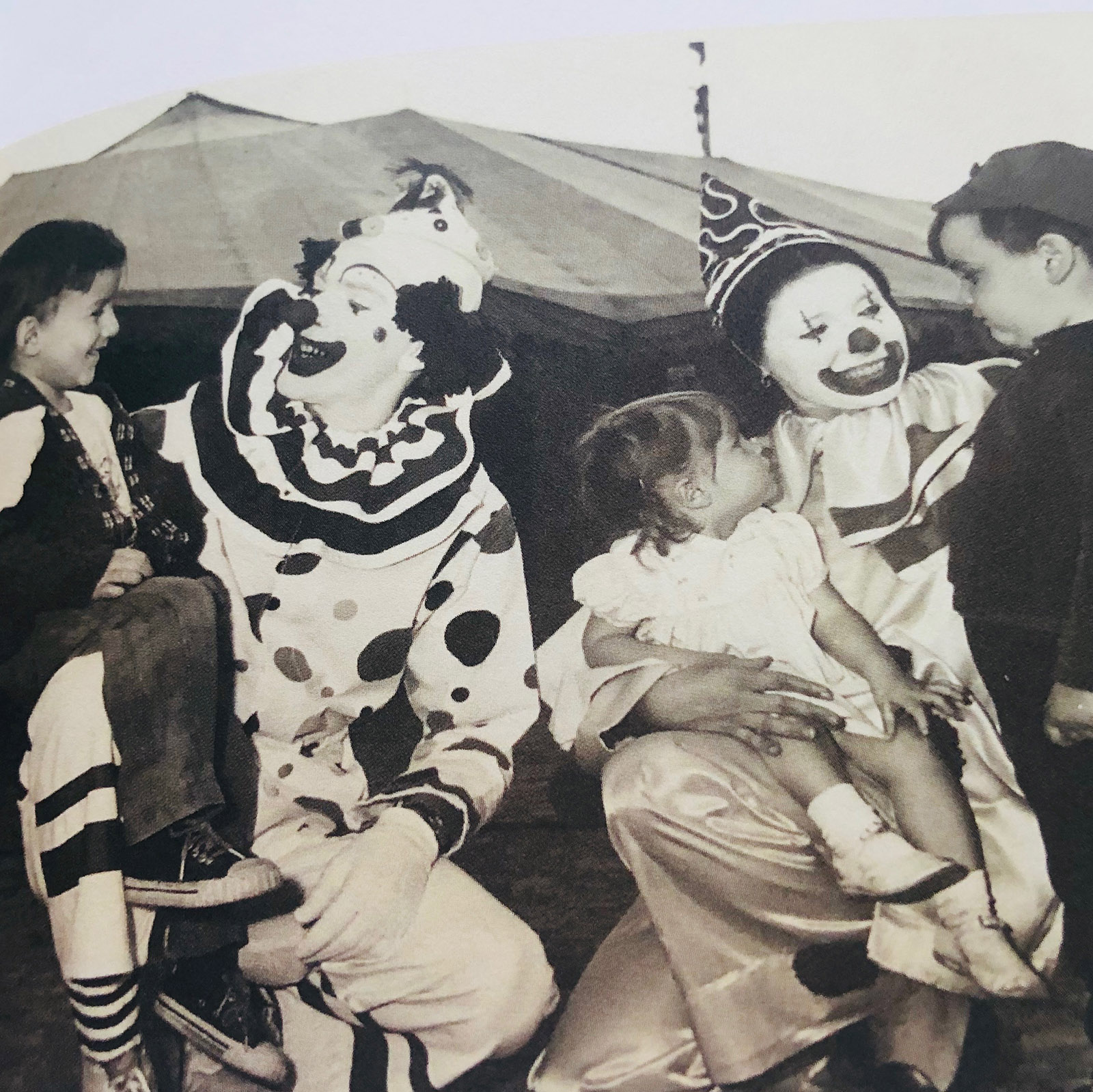 black and white photo of clowns in the sixties
