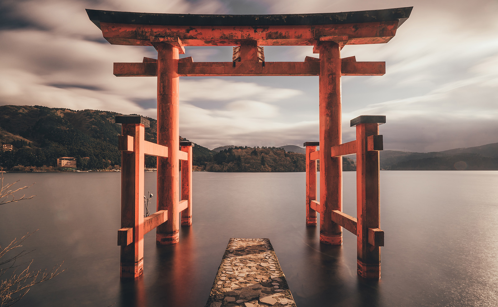 red shrine in the water in Hakone, Japan.