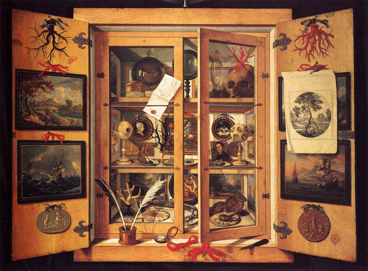 painting of cabinet of curiosities by domenico remps