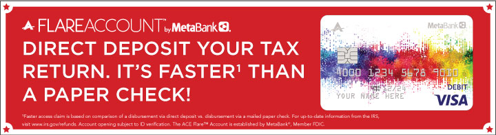 Direct deposit your tax return to Flare Account by clicking this image