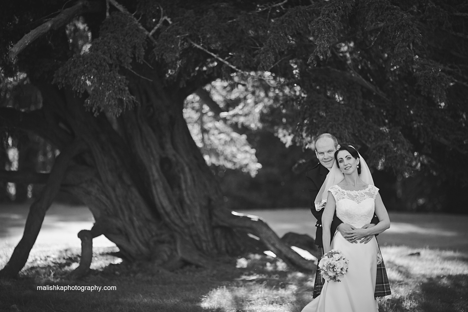 Bride and groom portraits at one of the Scottish castles,  Oxenfoord Castle