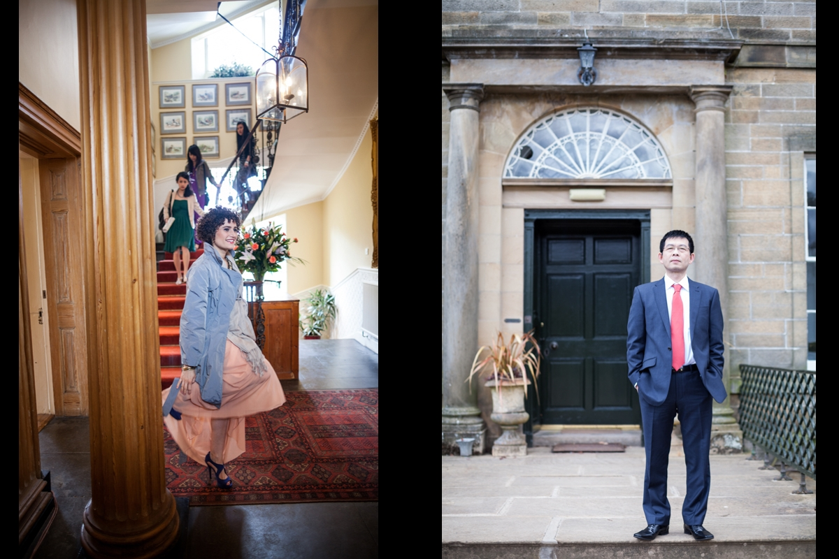 Guests an the father of the bride shortly before the wedding ceremony at Harburn House