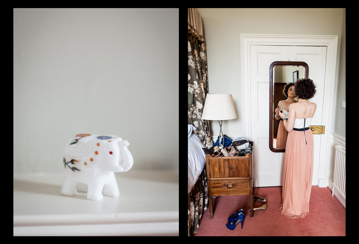 Bridesmaid getting ready for the ceremony at Harburn House