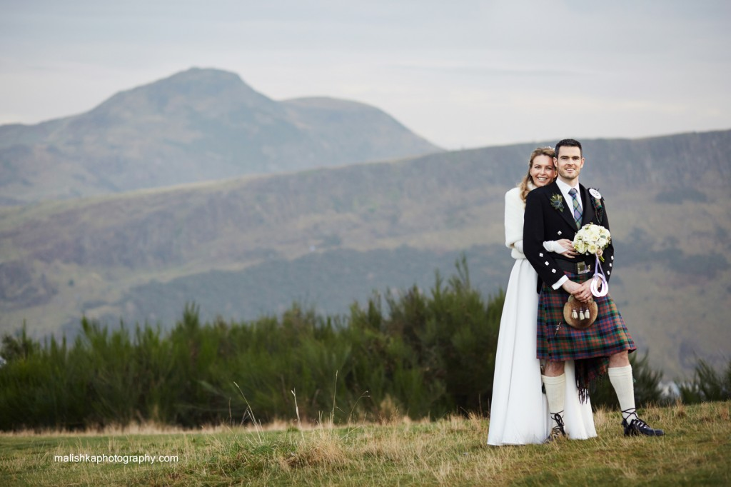 Bride and groom at Calton Hill