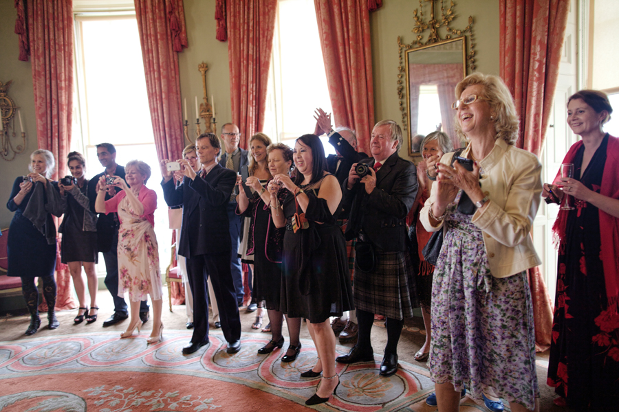 guests cheering for the couple at Culzean Castle Wedding