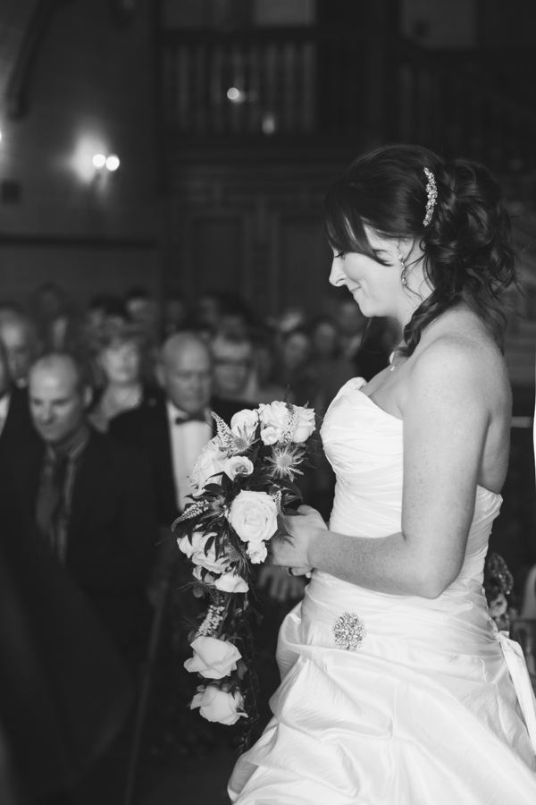 Lovely natural portrait of the bride at the wedding ceremony at Dalhousie Castle