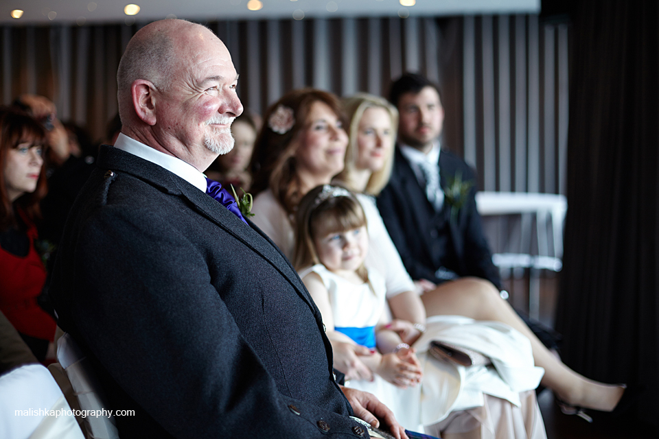 Happy father of the bride at Orocco Pier wedding in South Queensferry