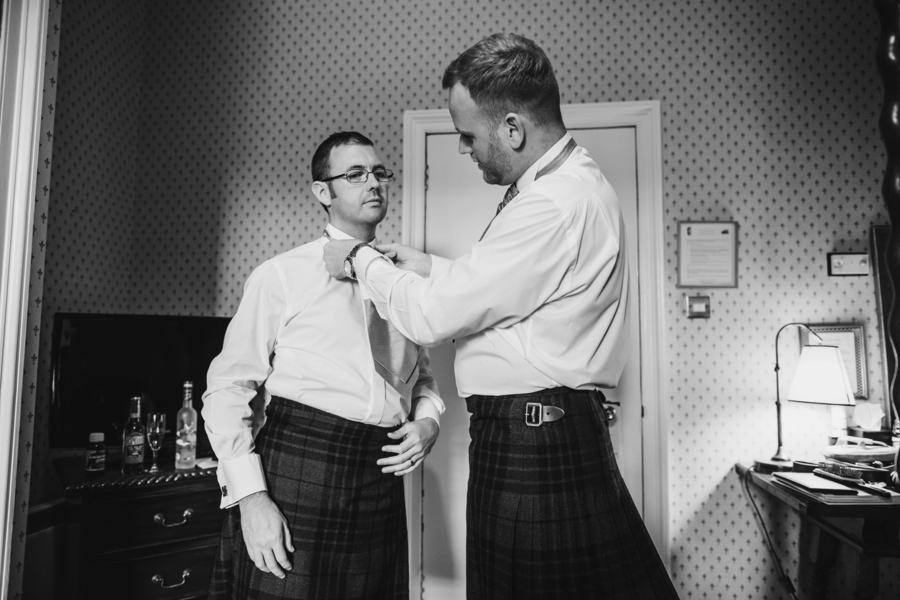 Groom and his best man getting ready at Dalhousie Castle in Bonnyrig