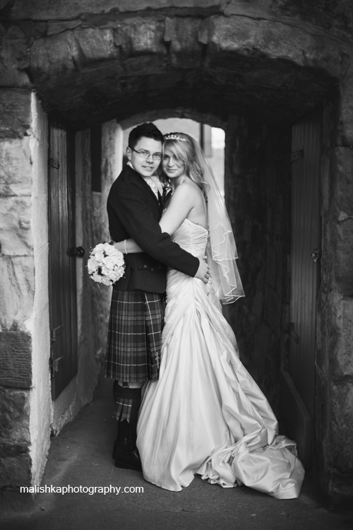 Bride and groom portraits in Orocco Pier in South Queensferry