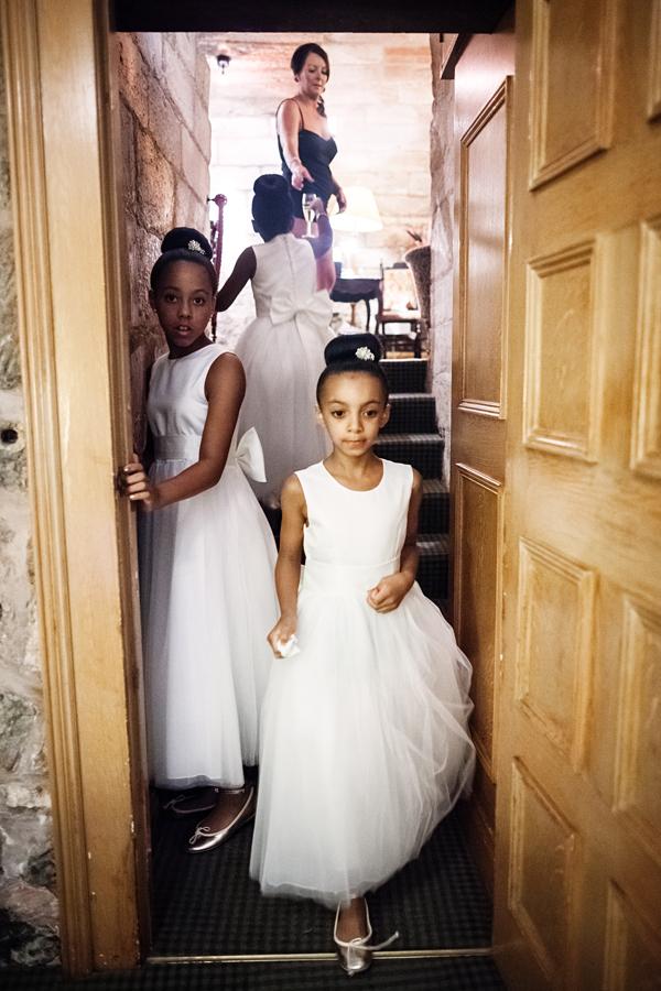 Cute bridesmaids at Dalhousie Castle wedding preparations