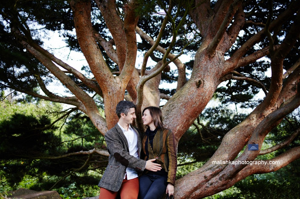Lovely trees and one happy couple