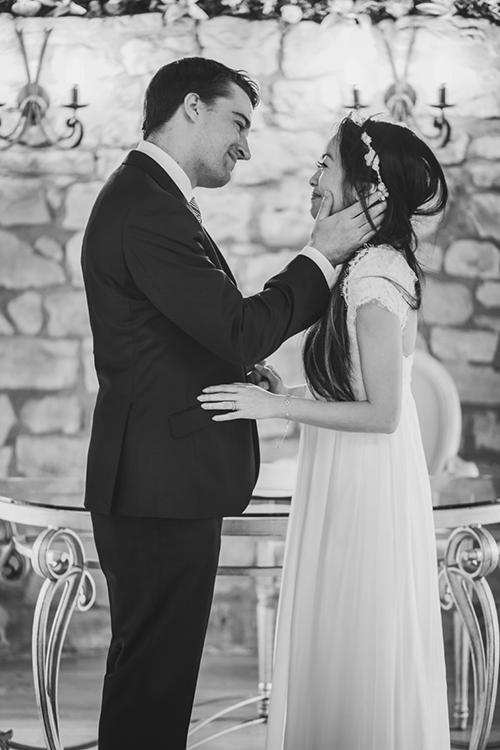 Romantic gaze between bride and groom at Harburn House wedding