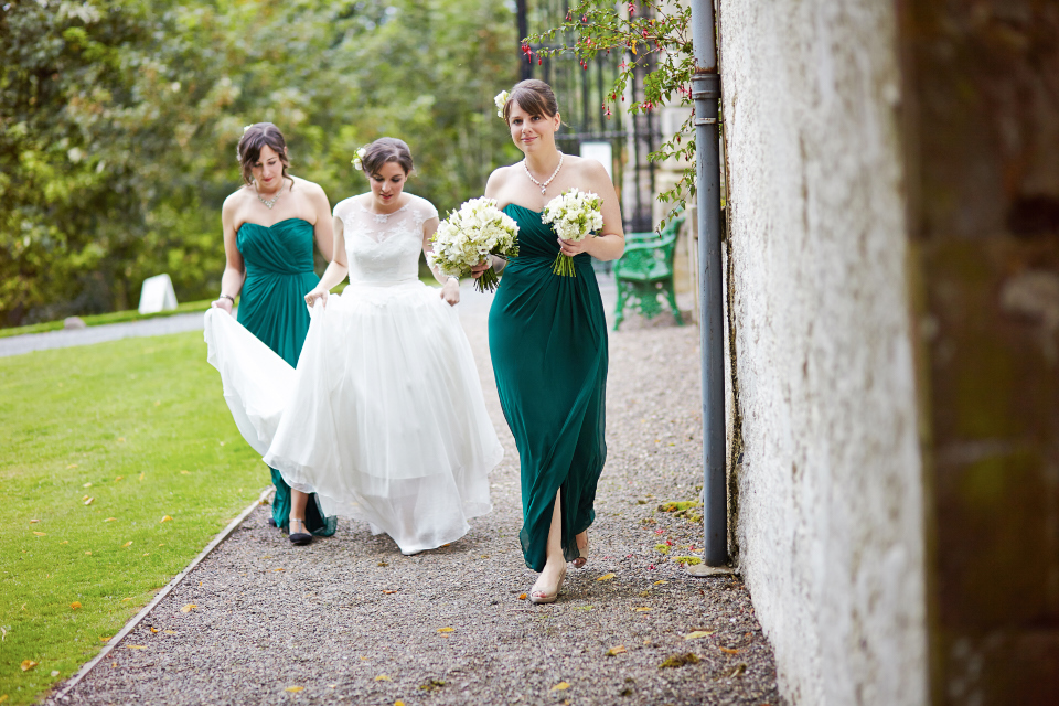 Bride on her way to the Traquair House wedding ceremony