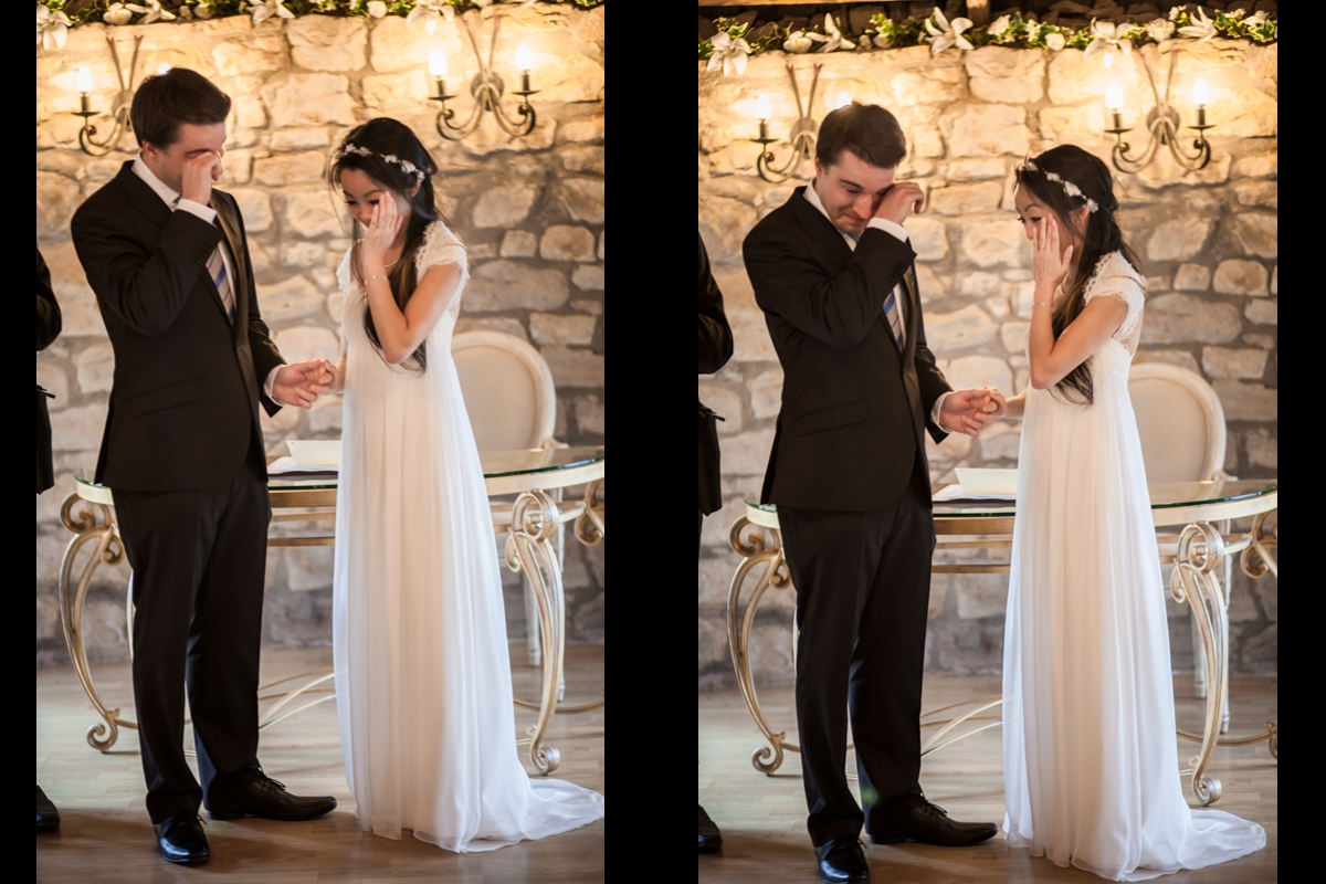 Bride and groom get emotional during the ceremony at Harburn House