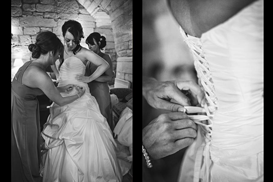 Bridal preparations at Dalhousie Castle Wedding