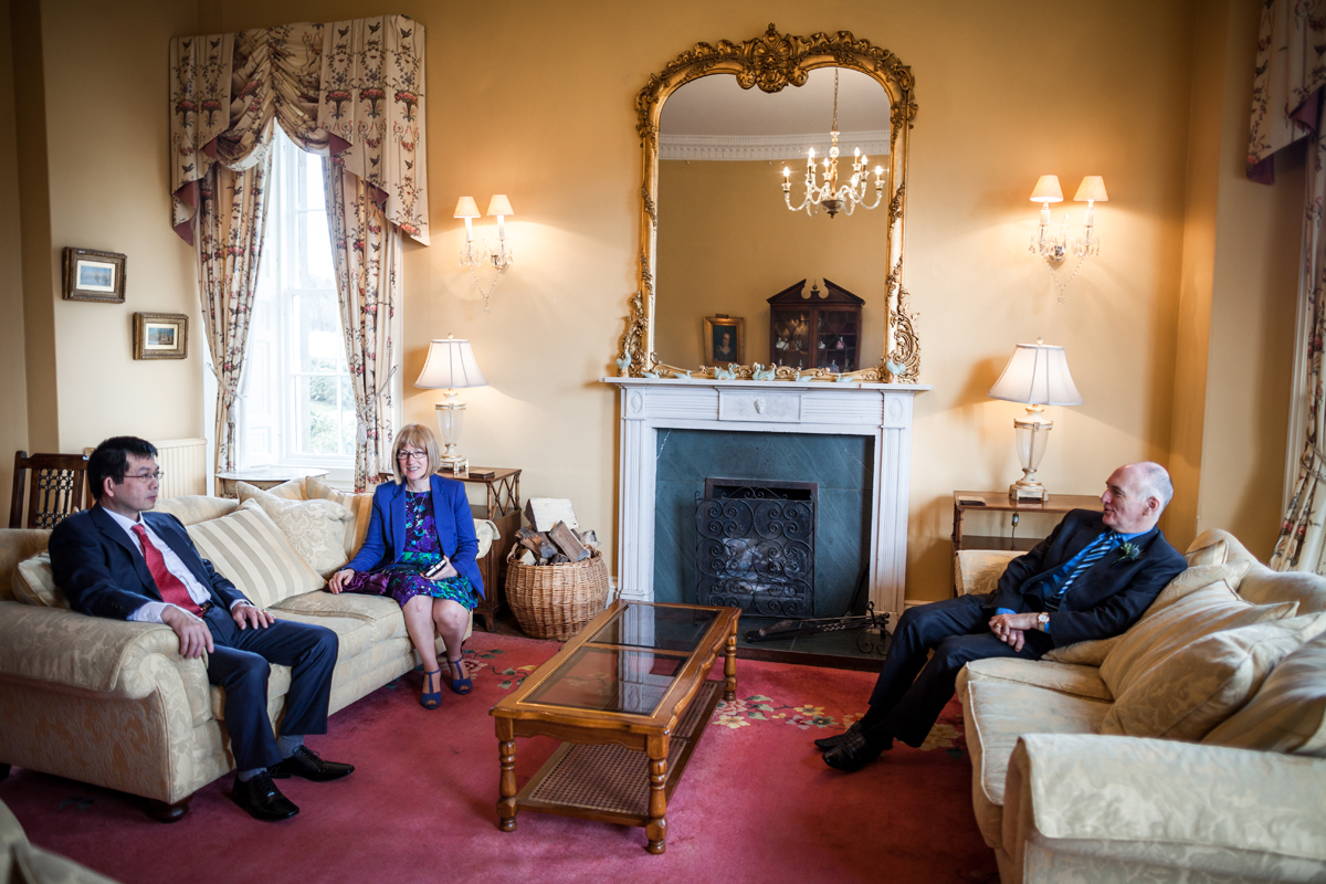 Guests relaxing before the ceremony at Harburn House