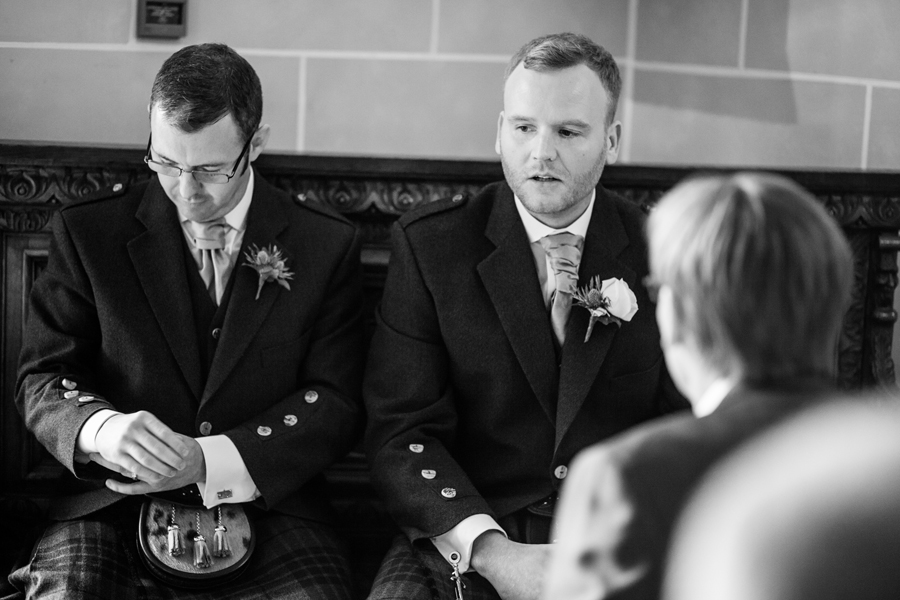 Groom shortly before the wedding ceremony at Dalhousie Castle