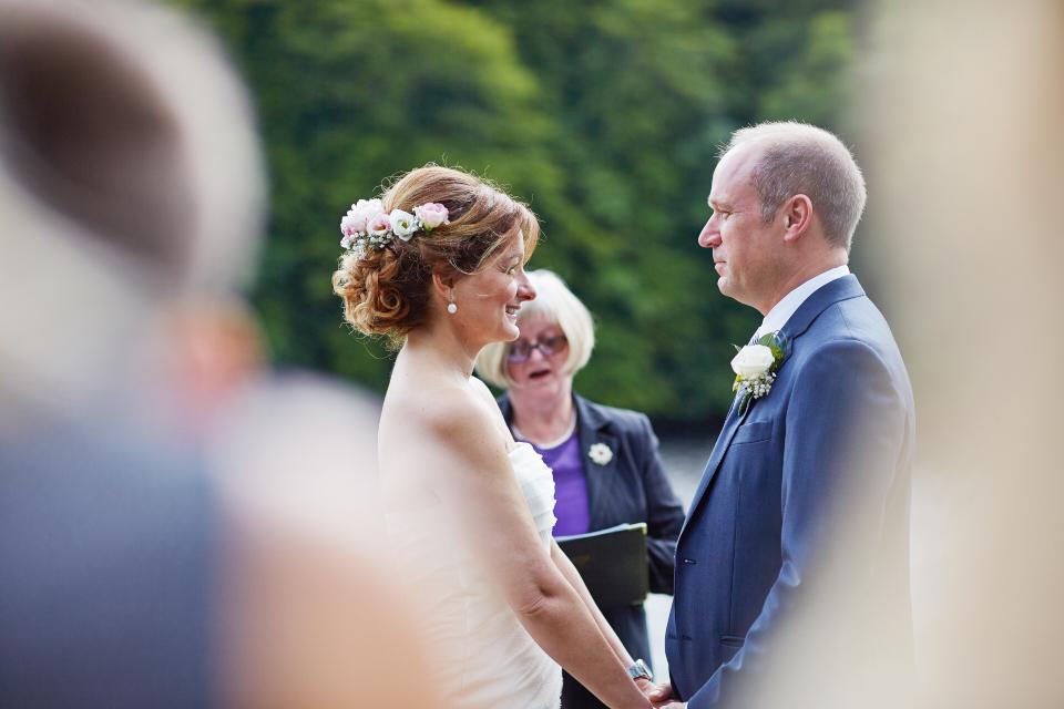 Bride & groom during the wedding ceremony in Dunkeld
