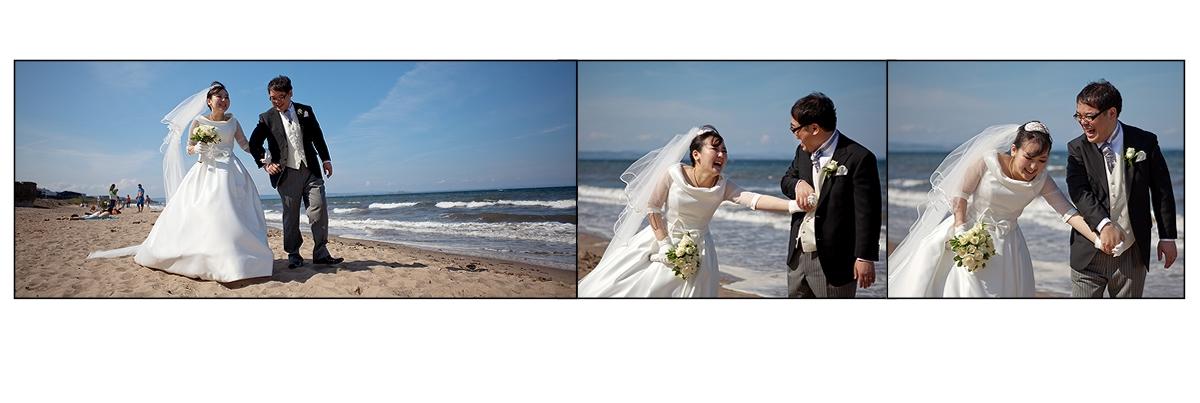 Bride and groom portraits on Portobello beach
