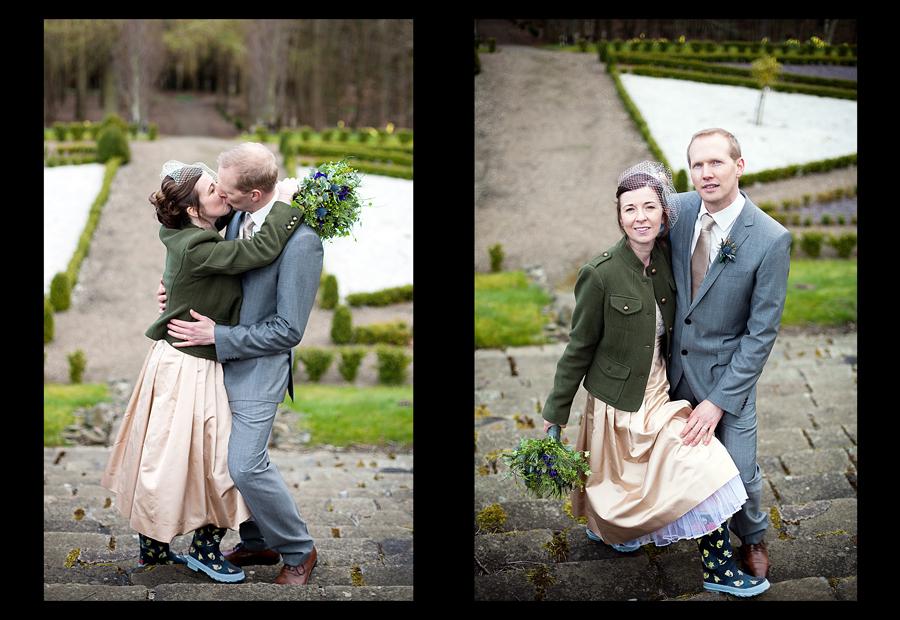 Edinburgh wedding photographer capturing beautiful portraits of bride and groom at Cringletie House
