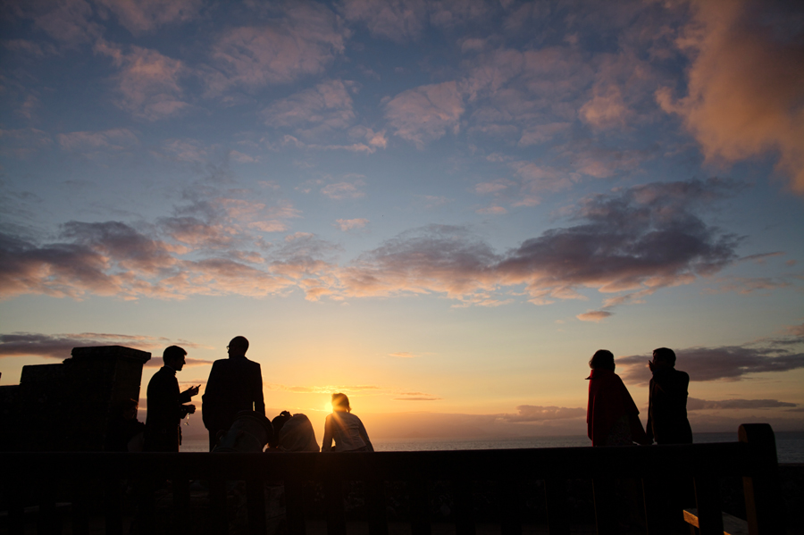 Guests enjoying the sunset at Culzean Castle Wedding