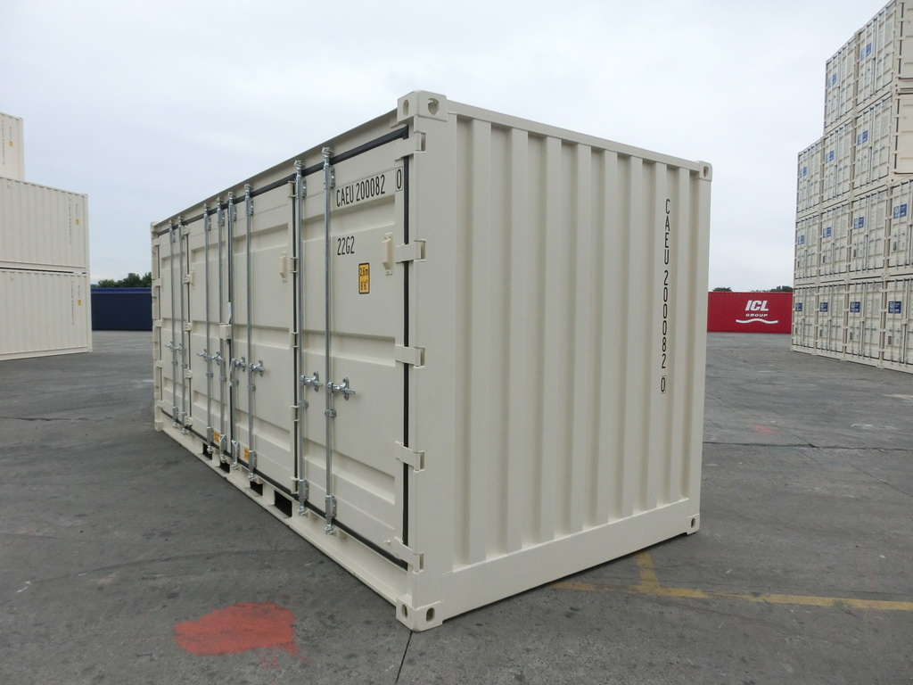 20' Open Side One Trip Container Side Beige