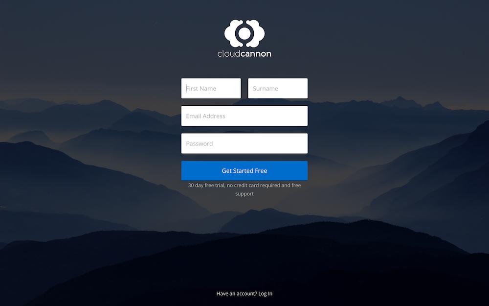 CloudCannon sign up form