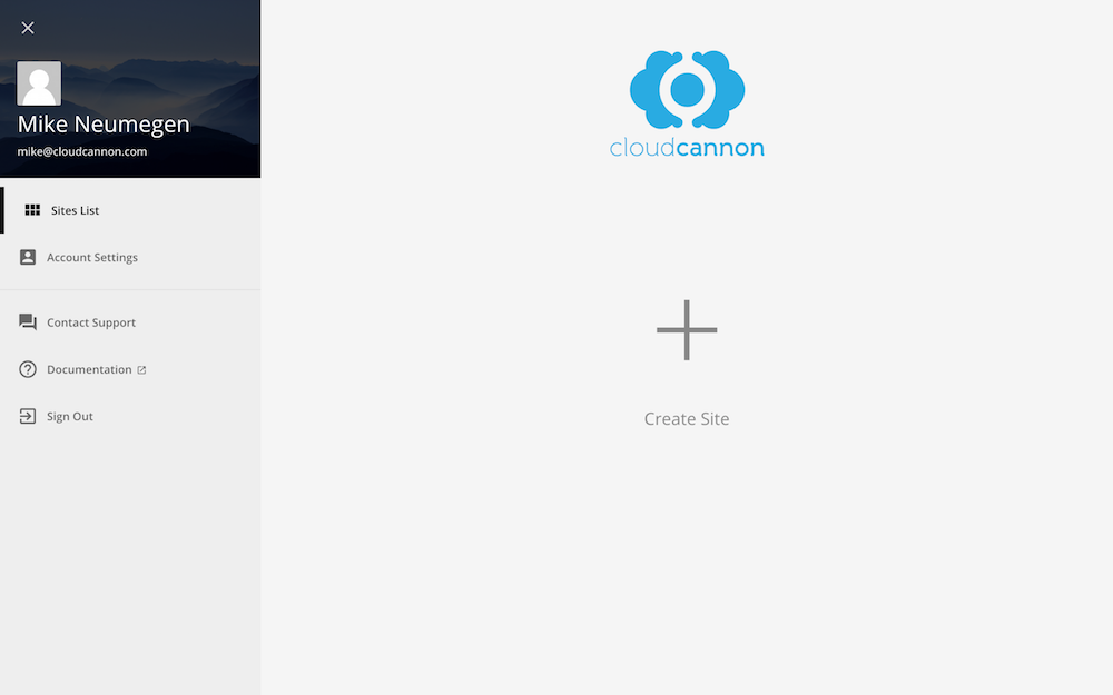 CloudCannon dashboard