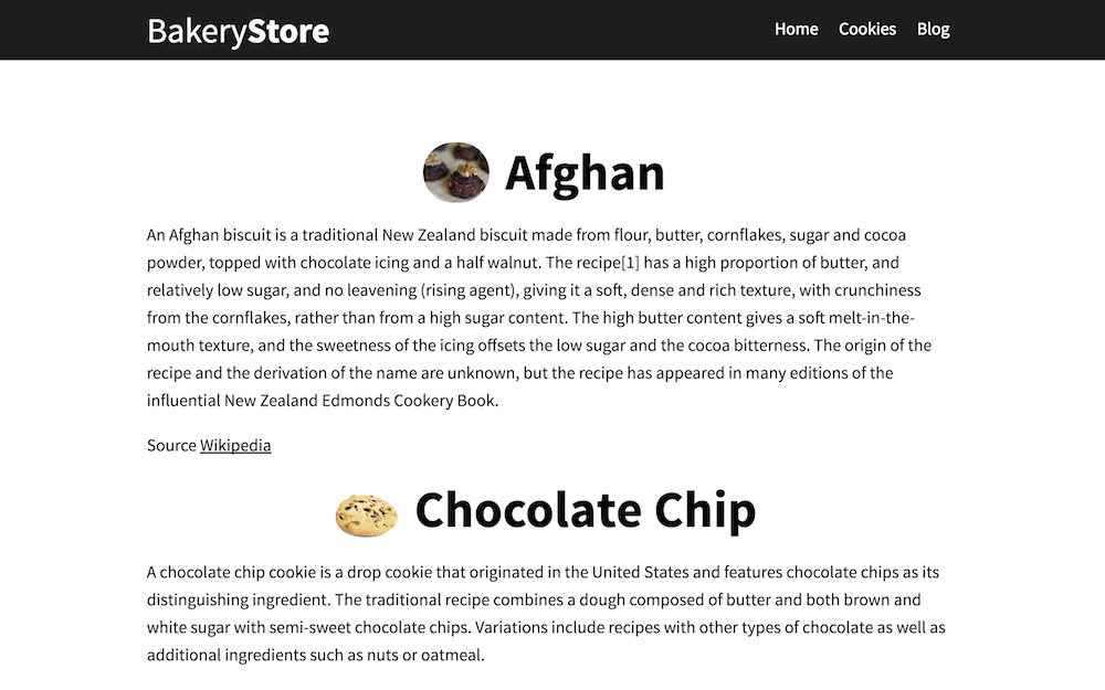 Cookies page