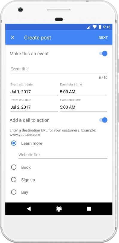 how to create a google post from a mobile device