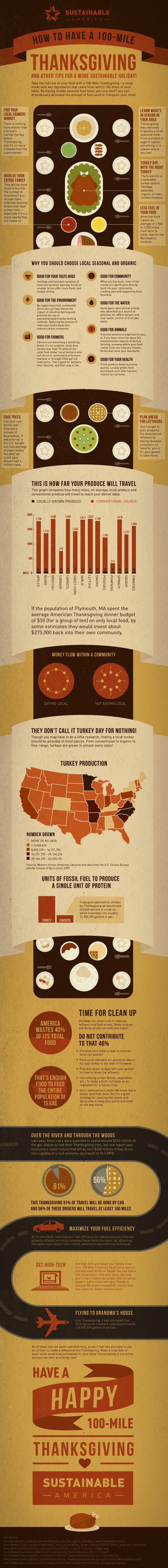 How to Have a 100 Mile Thanksgiving infographic and tips for a more sustainable holiday