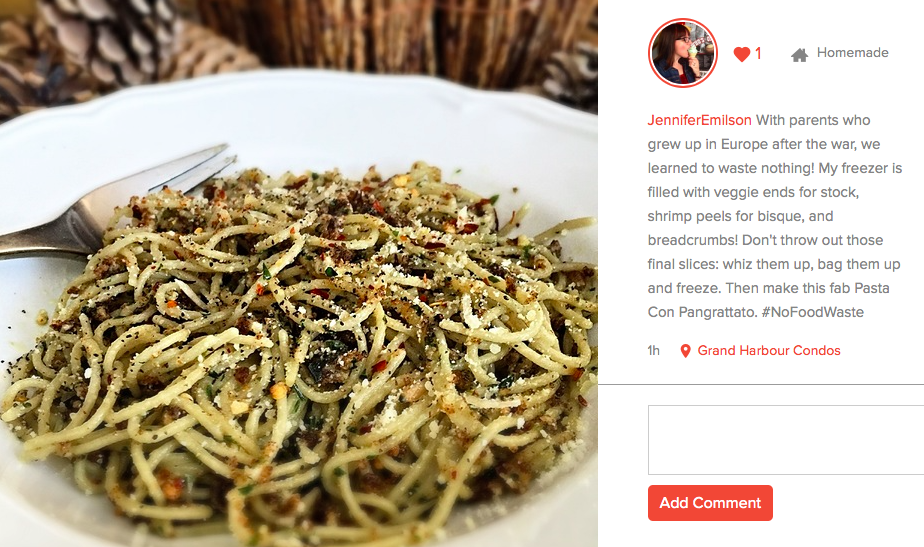 Pasta made with bread crumbs