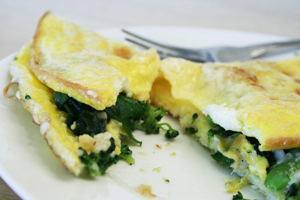 Omelet with leftover vegetables