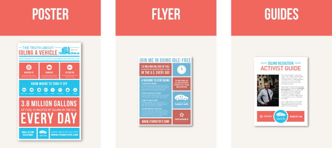 Vehicle Idling awareness poster, flyer and guides