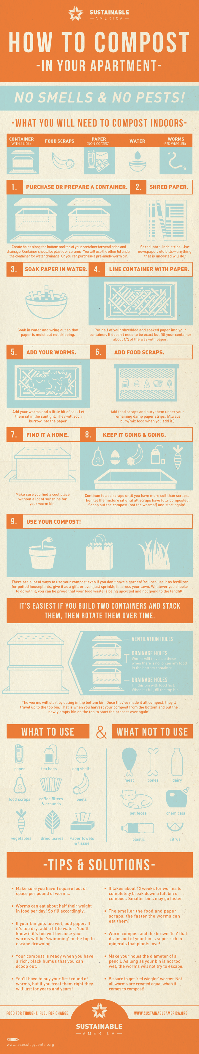 How to compost in your apartment infographic