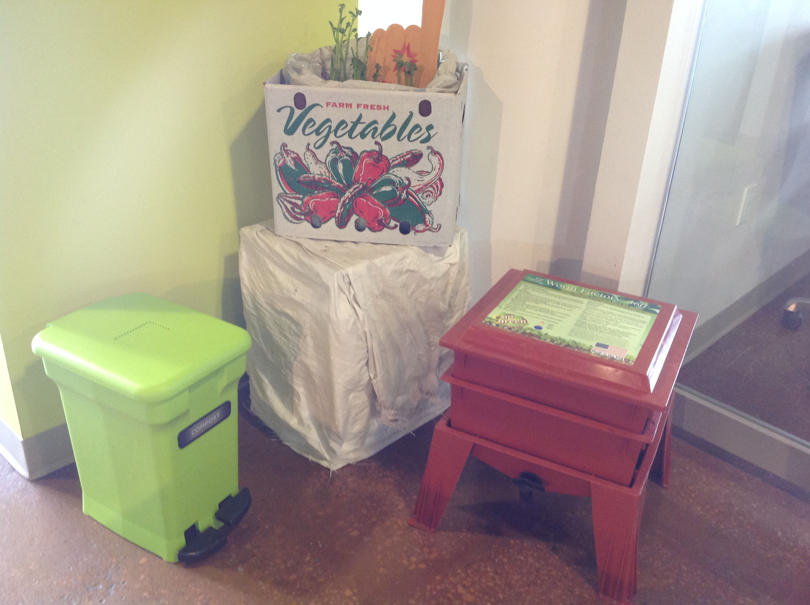 Our office composting system