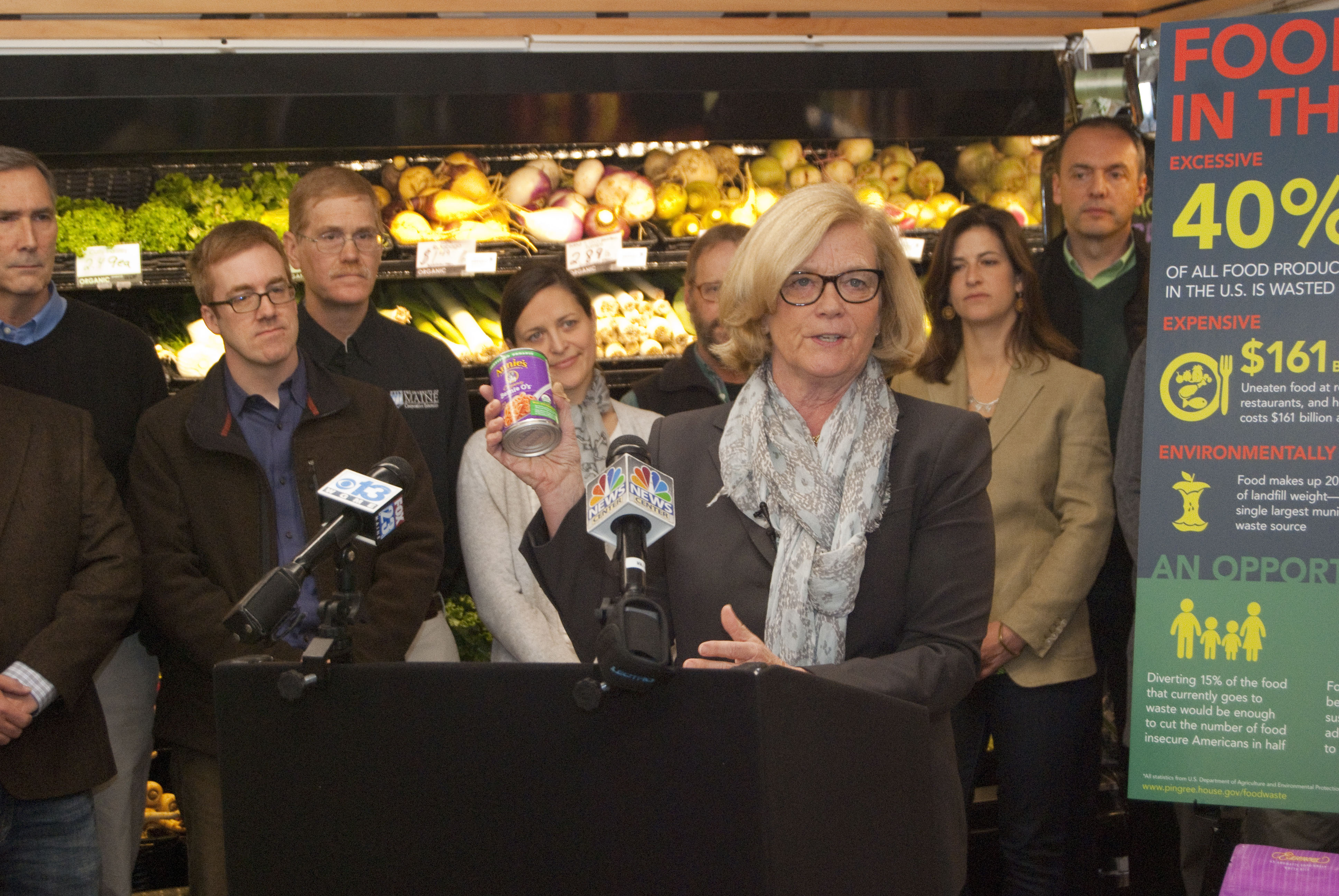 Chellie Pingree introducing legislation at the 2015 Food Recover Act Press Conference